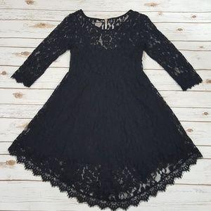 Free People Floral Mesh Lace Dress Sz 10 Black